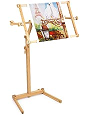 Needlework Floor-Standing Type Stand with Adjustable Frame Made of Organic Beech Wood Tapestry Cross Stitch Embroidery Frame Holder
