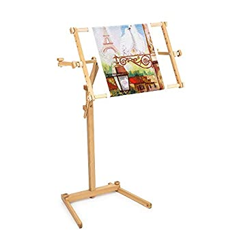 Image of Frames Needlework Floor-Standing Type Stand with Adjustable Frame Made of Organic Beech Wood Tapestry Cross Stitch Embroidery Frame Holder (15.7' x 22')