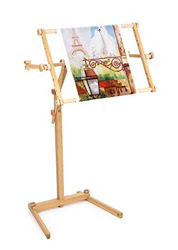 "Needlework Floor-Standing Type Stand with Adjustable Frame Made of Organic Beech Wood Tapestry Cross Stitch Embroidery Frame Holder (15.7"" x 22"")"