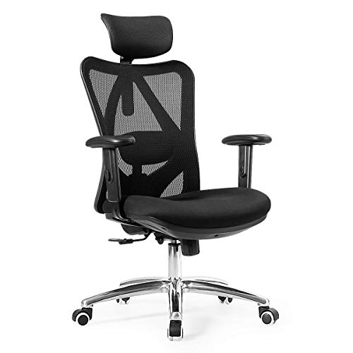 Giantex High Back Mesh Office Chair with Adjustable Headrest and Tilt-Down Backrest, Ergonomic Breathable Computer Desk Chair for Home Office, Executive Mesh Task Chair (Black)