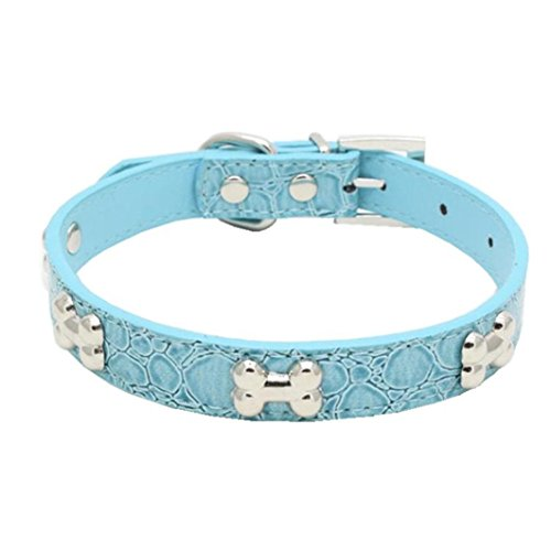 haoricu Pet Collar, Small Dog Collars Bling Crystal with Bone Necklace Puppy Cat (XS, Sky Blue)