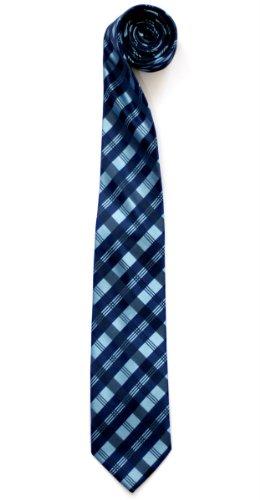 Blue Pattern Tie (Retreez Tartan Check Patterns Woven Microfiber Men's Tie - Blue)