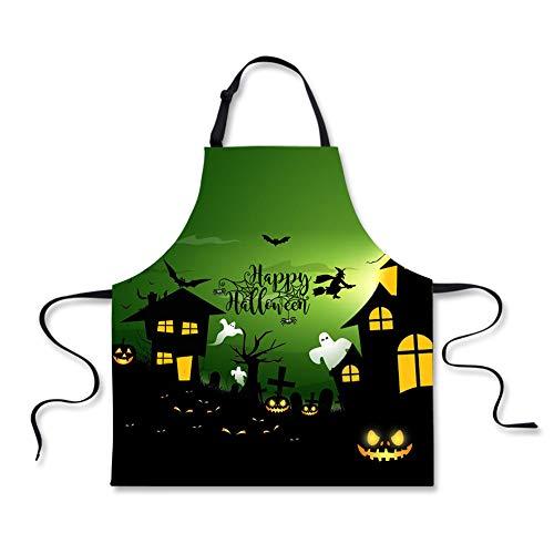 (WHEREISART Halloween Apron, Pumpkin Lanterns Gothic Castle Cooking Unisex Kitchen Bib Apron with Adjustable)