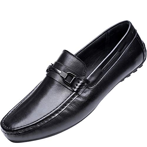(Cassa Leeni Men's Driving Shoes Loafer Slip On Shoes for Formal Dress Casual Leather Shoes)