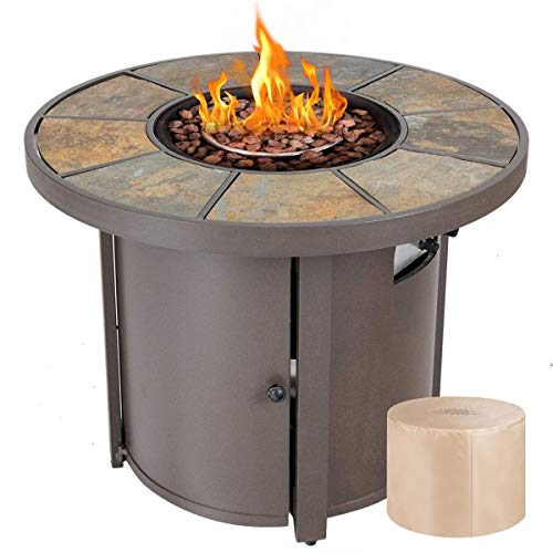 """Giantex 32"""" Round Propane Gas Fire Pit Table 30,000 BTUs Heater Outdoor Table w/Lava Rock & Protective Cover (32"""" Brown)"""