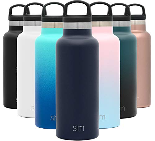 Simple Modern 17oz Ascent Water Bottle - Stainless Steel Flask w/Handle Lid - Navy Hydro Double Wall Tumbler Vacuum Insulated White Small Reusable Metal Leakproof -Deep Ocean