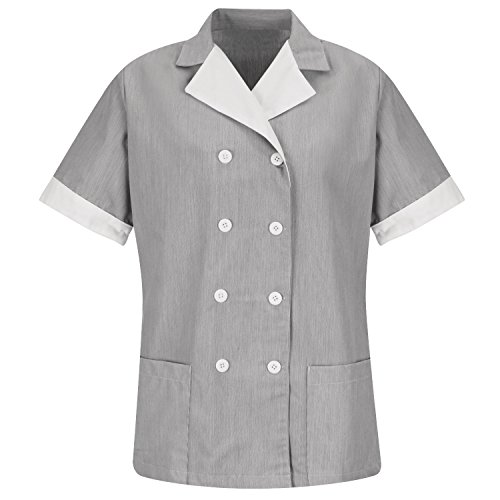 Averill's Sharper Uniforms Women's Ladies Housekeeping Double-Breasted Lapel Pincord Tunic Large Black Pincord