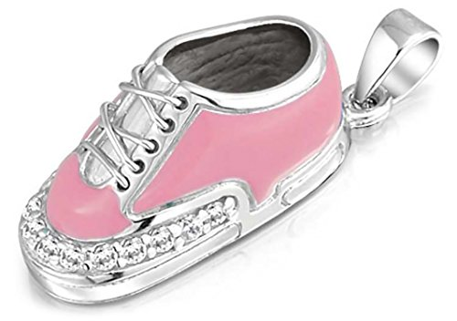 Engravable Pink Sneaker Baby Shoe Charm Pendant Necklace Gift For New Mother 925 Sterling Silver