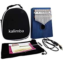 IAMGlobal 17 Key EQ Kalimba Thumb Piano, Electric Finger Thumb Piano Built-in Hi-Fi Pickup With 6.35mm Audio Interface with Cute Bag, Hammer and Music Book, Perfect for Beginners (Blue)