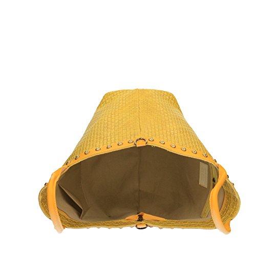 Chicca in Cm avec 53x34x20 tressé Made Borse à Jaune véritable en cuir cuir Italy main imprimé bandoulière Sac en aw76STqT