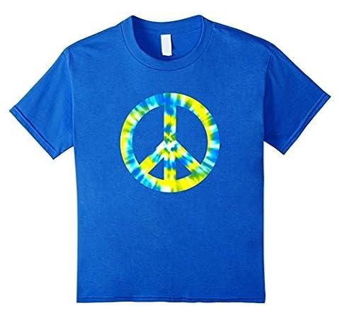 Kids Tie Dye Peace Sign T Shirt Hippy Costume 12 Royal Blue - Boys Blue Tie Dye