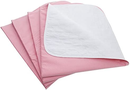 Weaved Collection Washable Reusable Incontinence Underpads 34x 36 (Pack of 4) Bed Pads Great for Pets and Adults (Pink)
