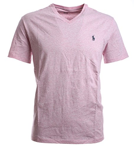 RALPH LAUREN Polo by Mens Classic Fit Pony Logo V-Neck T-Shirt (L, Pink Heather)