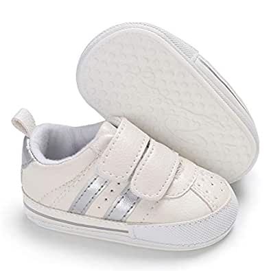E-FAK Baby Boys Girls Shoes Non-Slip Rubber Sole Infant Toddler Sneakers Crib First Walker Shoes(0-18 Months) Silver Size: 0-6 Months Infant