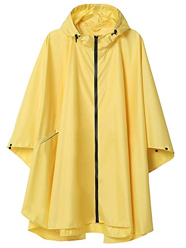 (Women Waterproof Rain Poncho with Pockets)