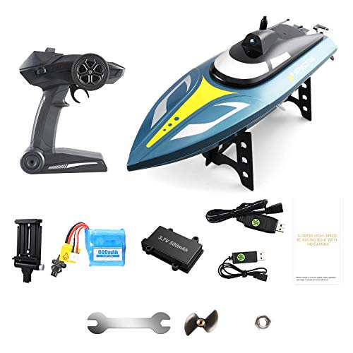 (OMLTER Intelligent Remote Control Boat WiFi Camera Real-Time Map Competitive Racing Boat Summer Water Boat 720p HD Camera/Modular Battery)