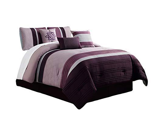 Comforter Set Cube (HGS 7-Pc Landon Cube Hexagon Trivet Embossed Pleated Stripe Comforter Set Purple Lavender Lilac Silver King)