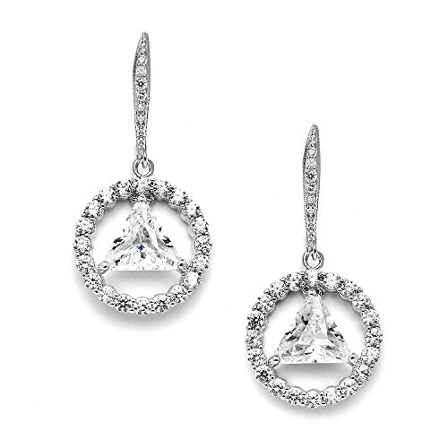 Mariell AA Recovery Earrings - Unity Symbol Cubic Zirconia Dangles - Jewelry Gift for Sober Women