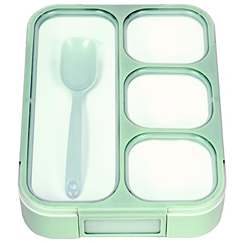4 Compartment Divided Lunch Box Bento Box Bento Lunch for Kids and Adults BPA-Free and Safe for Microwave Use Pack for The Office Work and School (Green)