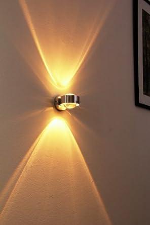 Wandlampe Silber mit besonderem Lichteffekt - dimmbare Metall-Lampe ...