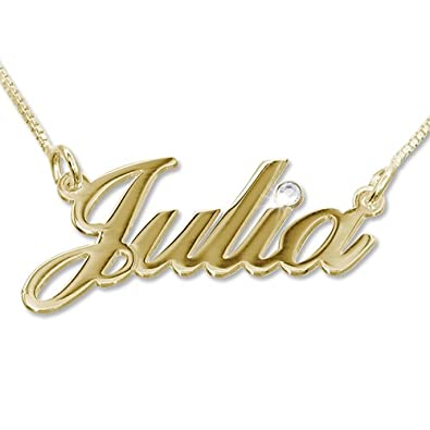 1890c72236d 14k Gold and Diamond Name Necklace - Custom Made with Any Name! (16 Inches