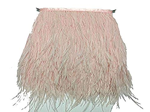 MELADY 2 Yards Fashion Dress Sewing Crafts Costumes Decoration Ostrich Feathers Trims Fringe with Satin Ribbon Tape (Light Pink) ()