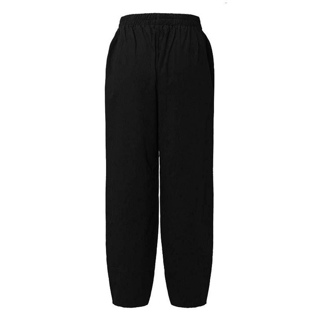 Pervobs Women Fashion Loose High Waist Solid Comfortable Elastic Waist Linen Pocket Long Pants Trousers (4XL, Black) by Pervobs Women Pants (Image #4)