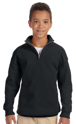 Jerzees Youth NuBlend Quarter-Zip Cadet Collar Sweatshirt, Medium, Black