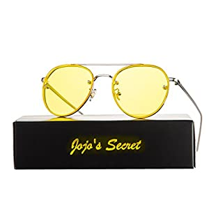JOJO'S SECRET Oversized Round Mirrored Sunglasses,Clear Lens Aviator Sunglasses JS021 (Silver/Transparent Yellow, 2.17)