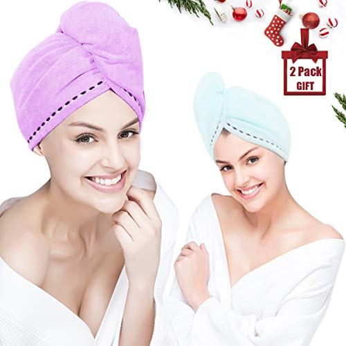 Wrap Your Hair - Orthland Microfiber Hair Towel Drying Wrap [2 Pack] Hair Turban Head Wrap with Button, Quick Dry, Super Absorbent for Long & Curly Hair, Anti-Frizz