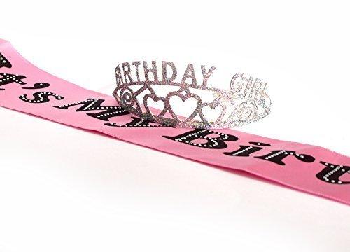 [Birthday Girl Glitter Tiara and It's My Birthday Party Sash] (Princess Birthday Girl Tiara)