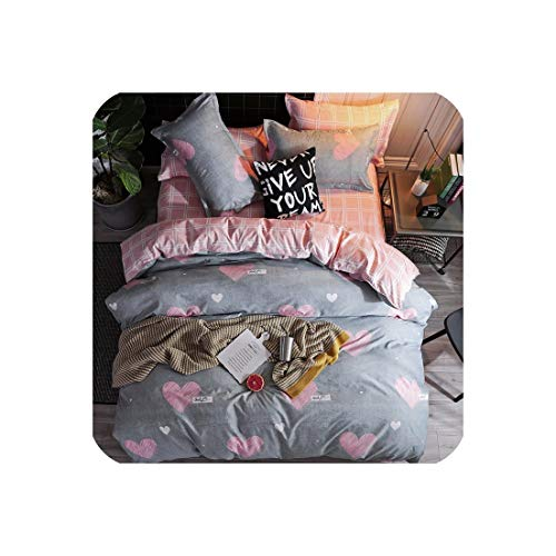 - mamamoo Home Textile Pink Girl Heart Bedding Set 3/4Pcs Quilt Cover Queen Full King Size Children Cartoon Duvet Cover Bedclothes,K18,Pillowcase 2Pcs,(Flat Bed Sheet)