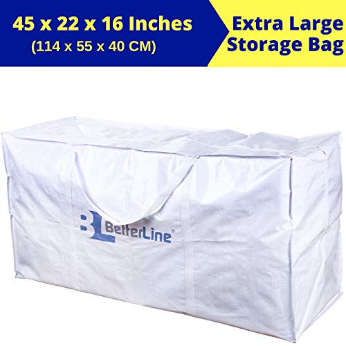 (BETTERLINE Extra Large Storage Bag - Heavy Duty 45x22x16 Inches Huge Tote Duffel with Max Load of 100 lbs. (45kg) - Tear-Resistant & Water-Resistant Polypropylene Woven Cloth, with Zippers)
