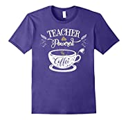 Teacher Powered by Coffee T-Shirt - Funny Teacher Shirts