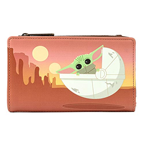 Loungefly Star Wars The Mandalorian Baby Yoda Wait For Me Faux Leather Wallet