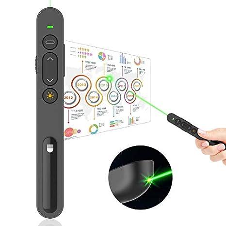 Doosl Presenter Gr/üner Laser Pr/äsentationsfernbedienung Laserpointer Gr/ün Pointer Presenter mit Laserpointer Hyperlink Lautst/ärkeregelung f/ür PPT//Keynote//OpenOffice//Windows XP//7//8//10//Mac OS//Linux
