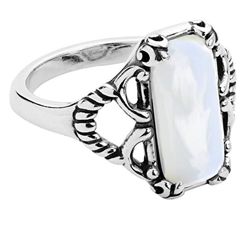 Carolyn Pollack Sterling Silver Rectangular White Mother of Pearl Ring - Size 9