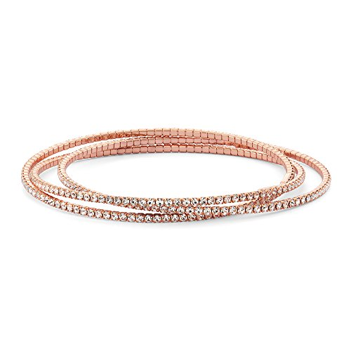 (Collection Bijoux 14K Rose Gold Plated Crystal Trinity Bangle)
