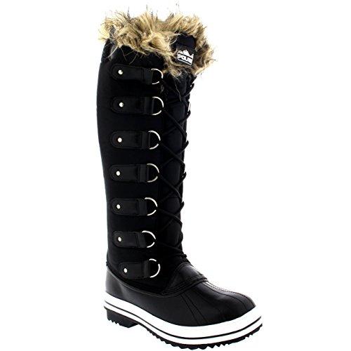 Frauen schnüren sich Gummisohle Kniehohe Winter Schnee Regen Schuh Stiefel Schwarzes Nylon