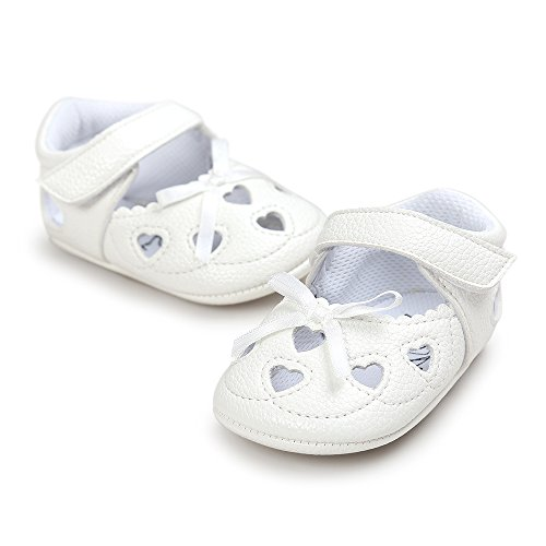 Infant White Leather Footwear - SOFMUO Baby Girls Sandals Soft Sole PU Leather Infant Bowknot Flats Toddler Summer Princess Walking Shoes(B-White,6-12 Month)