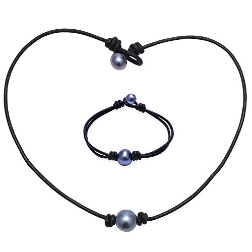Aobei Single Cultured Freshwater Dyed Peacock Blue Pearl Leather Choker Necklace and Bracelet Jewelry Set for Women 16'' (Potato Pearl Peacock)
