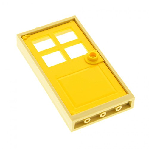 LEGO City Town Tan Door Frame 1 x 4 x 6 and Yellow Door 1 x 4 x 6 with 4 Panes and Stud Handle - Loose (Grau Ferrari)