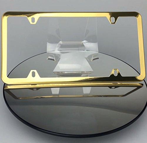 Gold 4 Holes Slim Powder Coated 100% Stainless Steel License Plate Frame Holder Tag Ka Legend w/ Aluminum Screw Cap