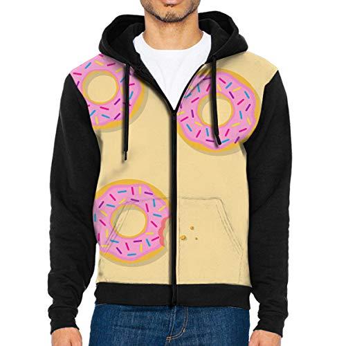 NMCEO Men Hoodie Yellow Donut Designer Full Zip with Pocket Lightweight Jackets for Halloween -