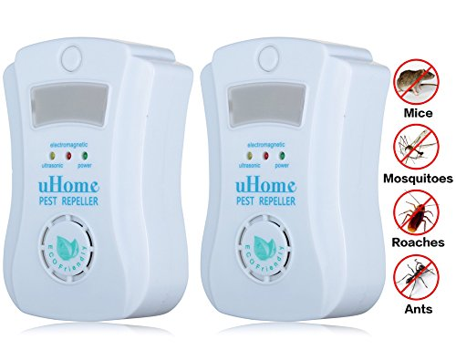 Pest Control -uHome Pest Repellent with Special Light Sensor Night Light-Pest Repeller with the Ultrasonic Technology-Ultrasonic Pest Control Equipment-Repels All Kinds of Rodents and Insects_Set of 2