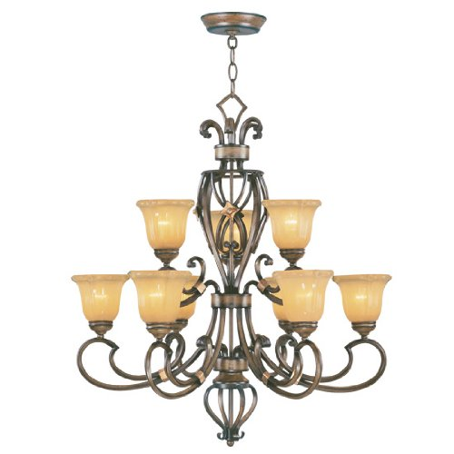 Livex Lighting 6216-62 Chandelier with Gold Dusted Sculpted Art Glass Shades, Windsor Walnut