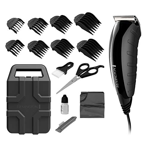 Remington HC5850 Virtually Indestructible Haircut Kit & Beard Trimmer, Hair Clippers for Men (15 pieces), Colors Vary