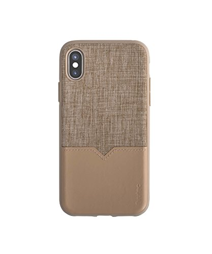 Evutec Case Compatible with iPhone X/Xs, Northill Series Premium Leather + TPU Shockproof Interior Drop Protective Case for iPhone Xs-Tweed/Tan(AFIX+ Car Vent Mount Included)