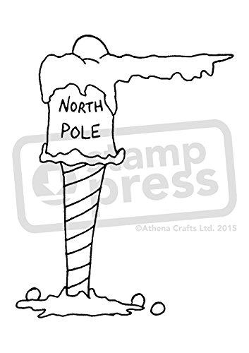 A7 'North Pole Sign' Unmounted Rubber Stamp (SP00002975) - North Pole Rubber