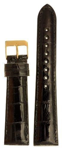 Genuine Louisiana Alligator - Men's Genuine Louisiana Alligator Watchband Black 20mm Watch Band